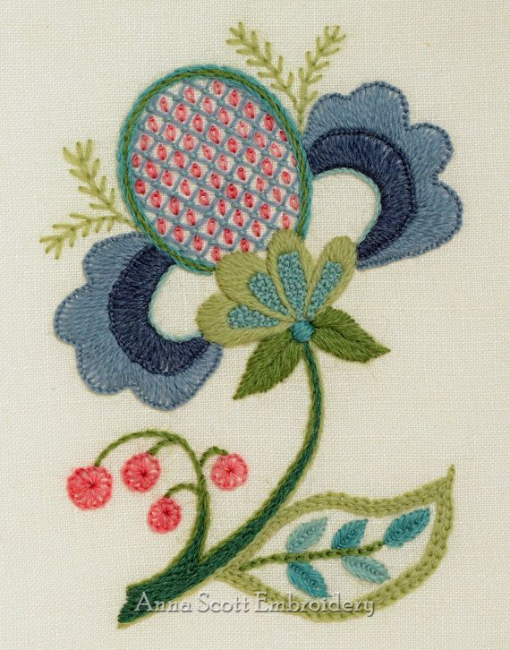 Crewel Embroidery Kit  BLUE PETALS by AnnaScottEmbroidery on Etsy, $40.00