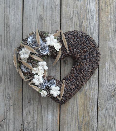 Kávé szeretettel ízesítve - Kávészemes, szív formájú ajtódísz, Dekoráció, Otthon, lakberendezés, Meska