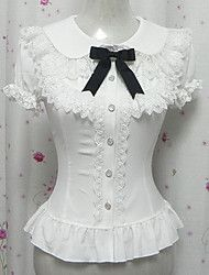 Caramelo princesa gasa blanca de manga corta Sweet Lolita Blusa