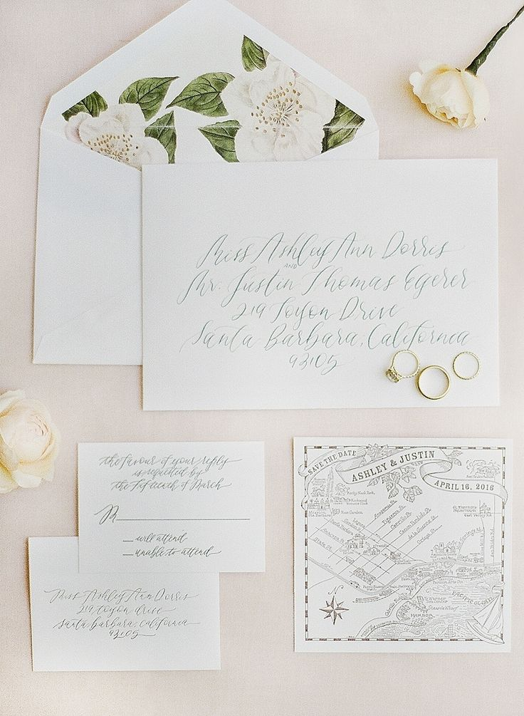 Spring White And Floral Hand Calligraphed Wedding Invitation Paper Suite:  Photography : Kristen Beinke