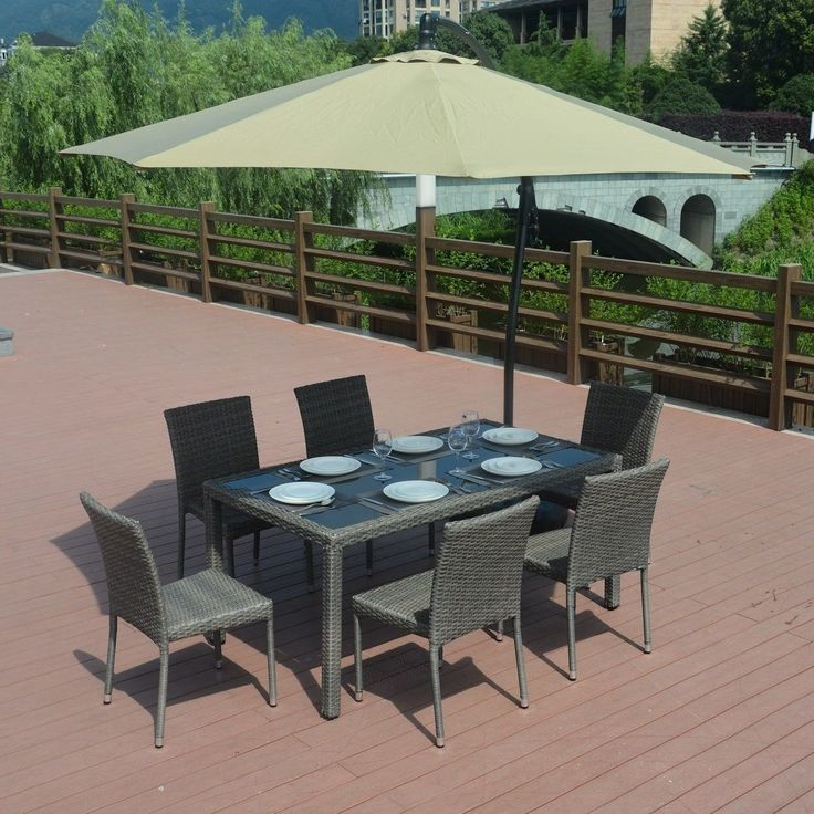 Emily 7 Piece Wicker Dining Set with 8-foot Cantilever Umbrella