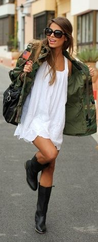 use your summer white dress and pair it with a jacket, boots, and leather bag to make a perfect fall look