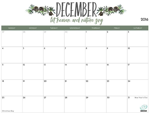 2019 Printable Calendar for Moms | calendar | December ...