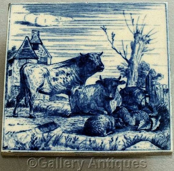 Rare Antique Victorian Minton Hollins Dark Flow Blue Cattle animals Transfer Printed Tile Designed by W P Simpson c.1880 (b) (ref: H103)