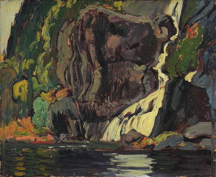 Waterfall, Agawa River, Algoma done in 1919.  J.E.H. MacDonald at the Art Gallery of Ontario.