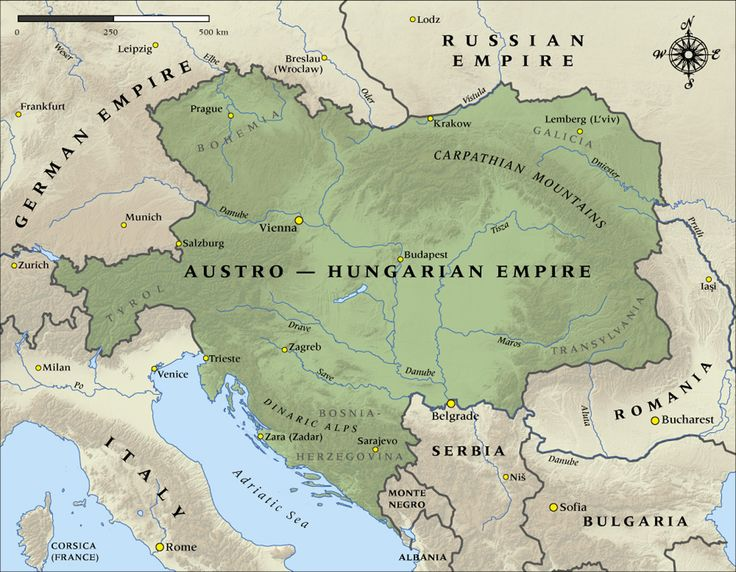 The Austro-Hungarian Empire on the eve of World War I (1914)