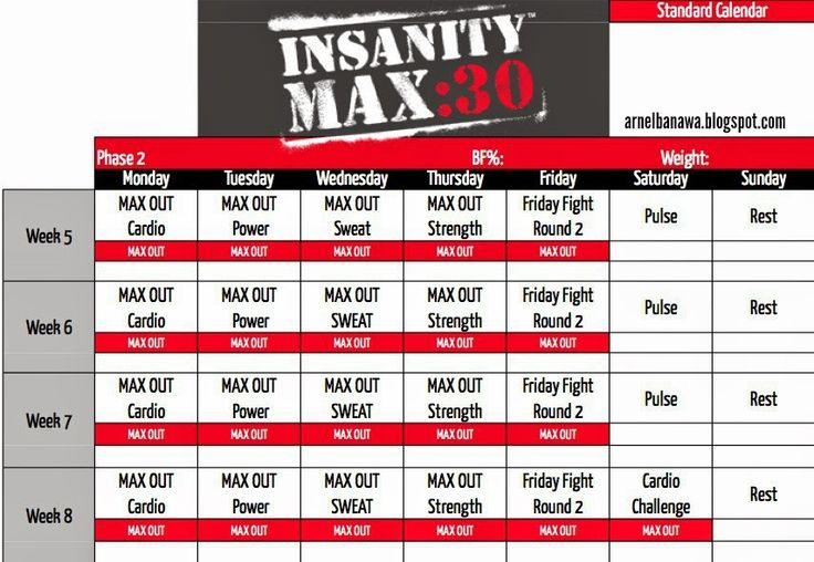 Insanity Max 30 Workout Sheets - Max 30 Workout Calendar