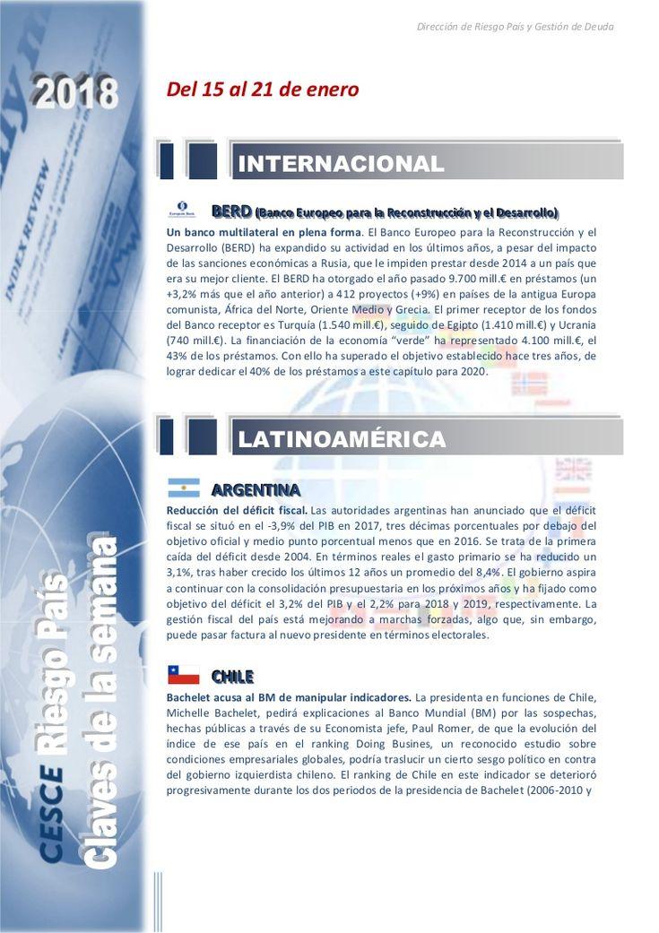 Resumen de las noticias internacionales más destacadas del 15 al 21 de enero de 2018, elaborado por el departamento de Riesgo País de CESCE.