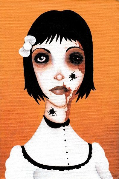 Itsy Bitsy by Ally Burke Spider Zombie Girl Tattoo Canvas Art Print – moodswingsonthenet