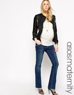 ASOS Maternity Babyboot Flare Jean In Mid Wash