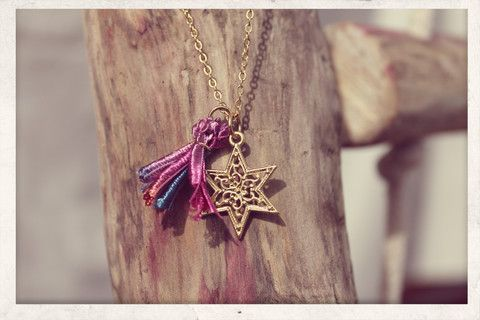 Tassel necklace made with love from 16k gold plated chain, 14k gold plated Filigree Star charm and silky satin ribbons!