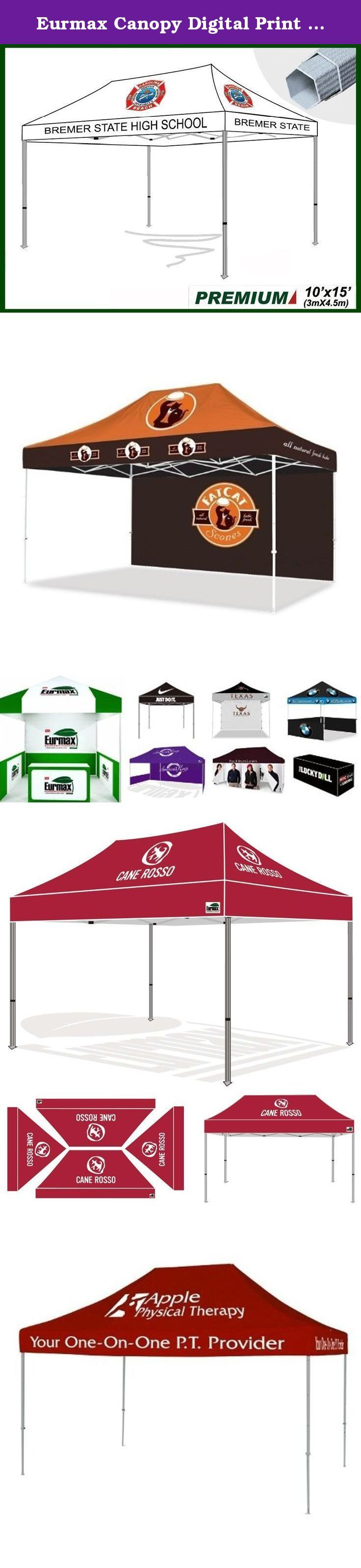 Eurmax Canopy Digital Print Custom Canopy Ez Pop Up Commercial Canopy Fair Tent (10x15). What you need to do is just email us your logo files and tell us how you want your canopy looks like, We will make Free rendition in 48 hours for your proof.