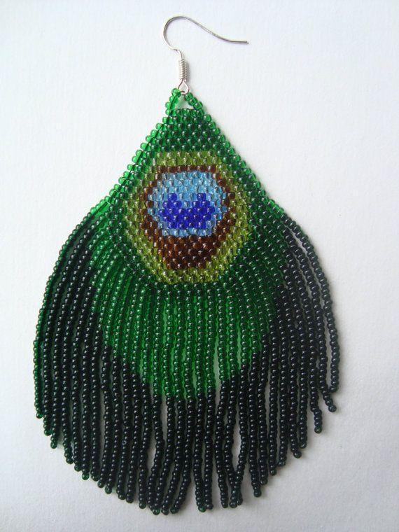 Exquisite Beaded Peacock Feather Long Fringe por hoofandarrow