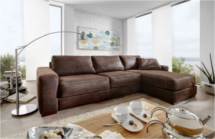 Westanker B.V. Leder-Eckgarnitur Sofa Couch Eckcouch Leder dunkelbraun Longchair Kontrastnaht | LaNatura