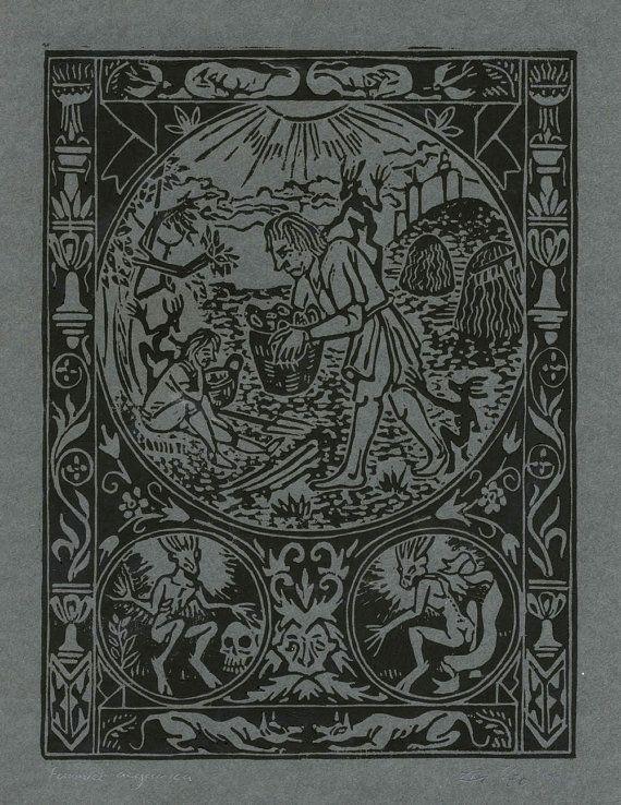 "Original Linoprint art alchemy magic history Linocut demon black ghoul dark ages folklore supernatural ""Furmico aegarica""7/50 Chris Richford"