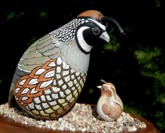 gourd art enthusiasts images   The mother quail is one gourd with a gourd piece added for the tail ...