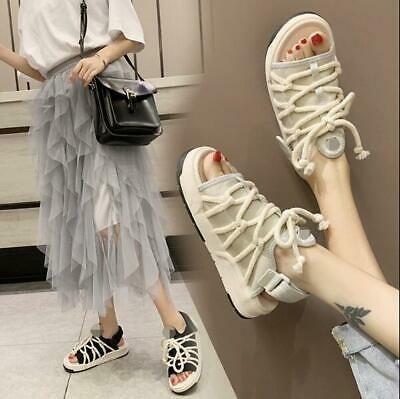 (eBay Advertisement) Women's New Mesh Open Toe Flat Strap Beach Fashion Spor…