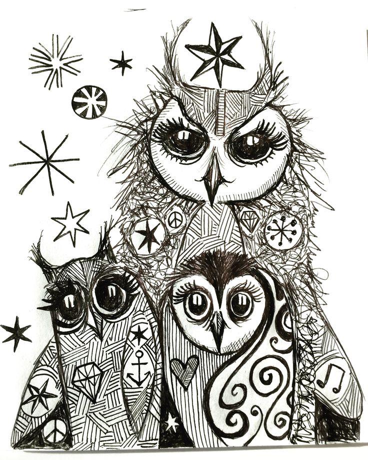 Three Owls by Lizzie Reakes