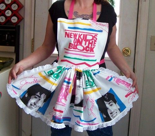 IFFFFF Jordan & Donnie were on it, THEN it would be perfect! <3  NKOTB - New Kids on the Block Apron - Retro Ruffle | PoppysGardenGate - Accessories on ArtFire