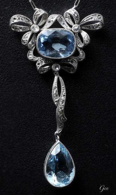 Aquamarine necklace United Kingdom 1920 Aquamarine, rose-cut diamond, platinum…