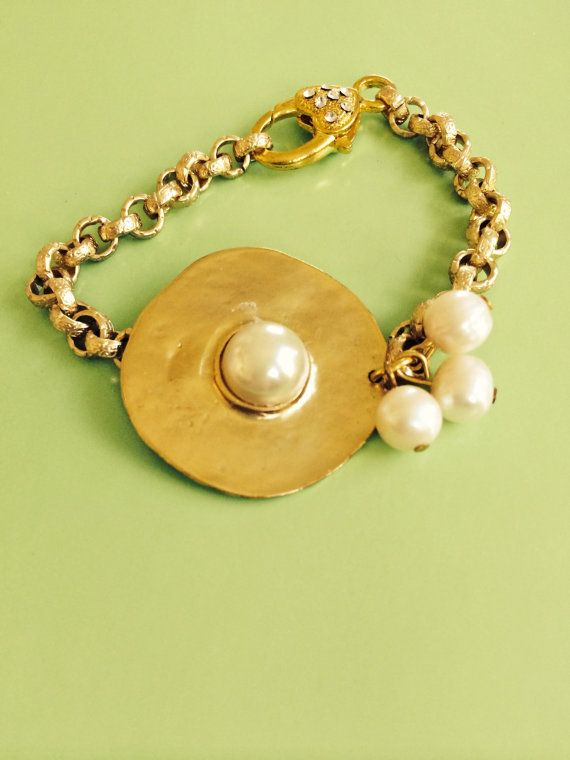 Bridal Gold and Pearl Bracelet by joytoyou41 on Etsy, $35.00