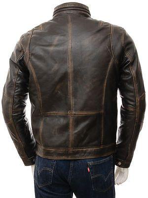 Para Hombre Motociclista Motocicleta Chaqueta de estilo vintage con aspecto envejecido Marrón Cuero Retro Racer