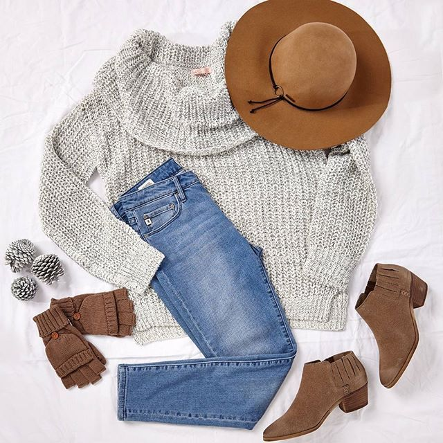 """In a must have look of the season, this knit may be worn off the shoulder or styled as a funnel neck, team with jeans and a felt hat for trendy casual weekend style! Outfit """"Follow Your Path"""" available at birdsnest.com.au. Details - Knit: #Sass, Jeans: #JAG, Boots: #Therapy, Hat: #Kooringal, Gloves: #Jendi."""