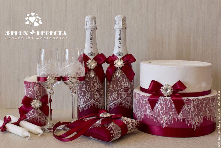 Купить Свадебный комплект в цвете марсала - бордовый, марсала, цвет марсала, свадьба, свадебный комплект