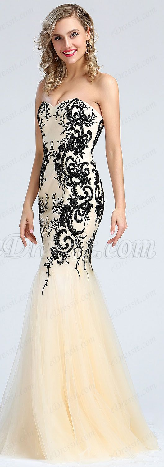 Strapless Beige Beaded Embroidery Prom Dress #eDressit