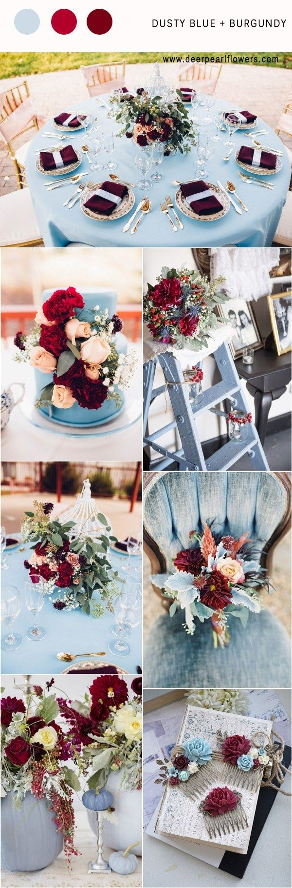 Dusty blue and burgundy wedding color palette idea / http://www.deerpearlflowers.com/dusty-blue-wedding-color-combos/ #weddingcolors #weddingideas #bluewedding #dustyblue