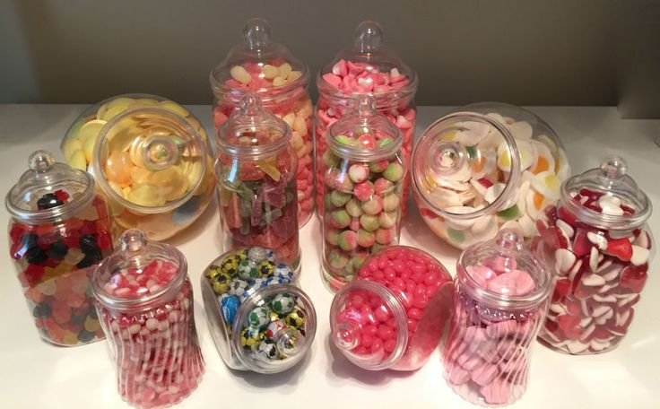 JUMBO 12 PET Plastic Sweet Jars DIY Sweet Shop Candy Buffet Wedding Christening