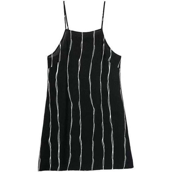 Spaghetti Strap Vertical Striped Dress ($12) ❤ liked on Polyvore featuring dresses, romwe, tops, black, black cocktail dresses, short sleeve dress, black spaghetti strap dress, sleeveless dress and short black cocktail dresses