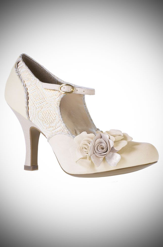 Emily vintage style wedding heels with roses