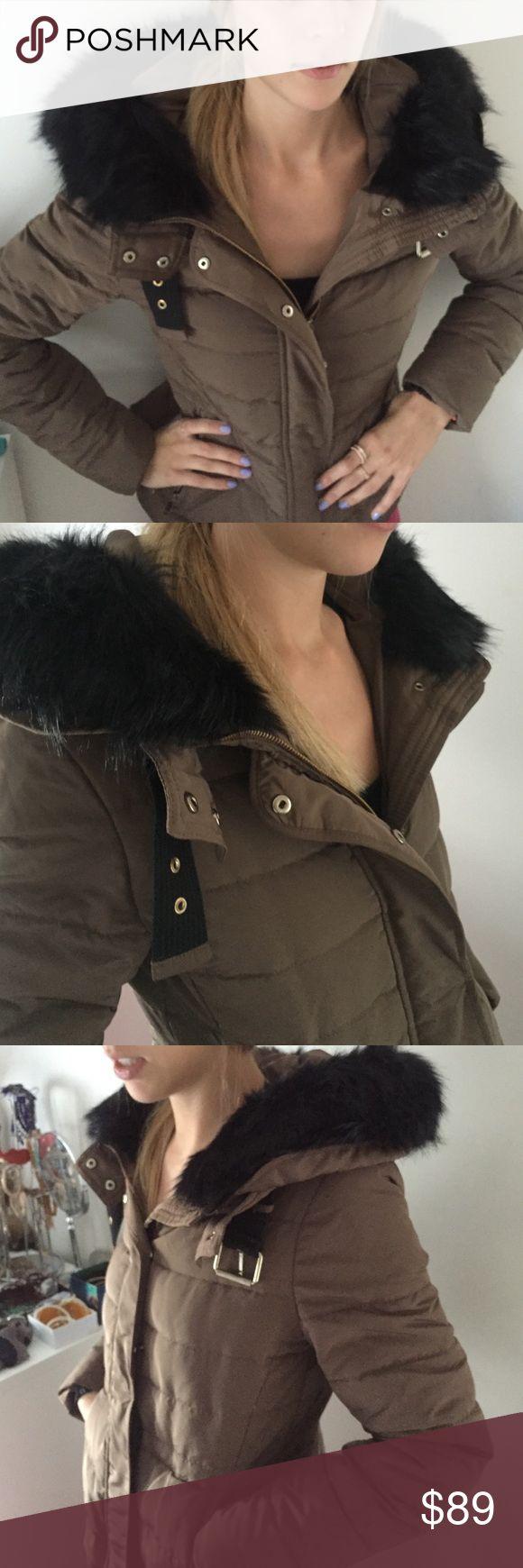 Zara Winter Coat with Fur Brown with black fur Zara coat Zara Jackets & Coats Puffers