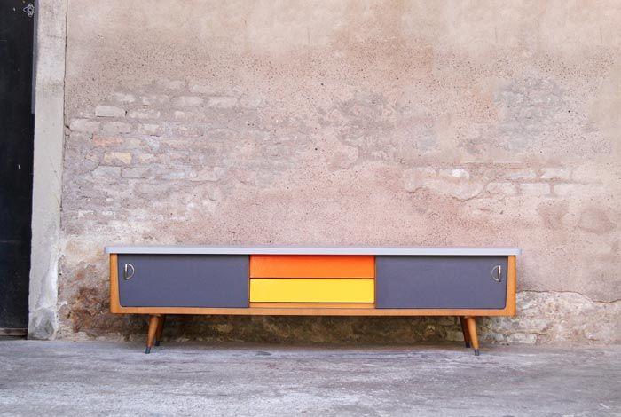 enfilade meuble tv relook gris orange jaune meubles pinterest gentleman tvs et vintage. Black Bedroom Furniture Sets. Home Design Ideas