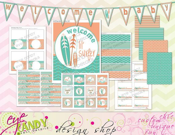 SURFS UP Baby Shower - Digital DIY Printable Party Pack- Baby Shower - Neutral Shower Idea