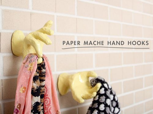 Diy paper mache hand hooks tutorial from making nice in for What can you paper mache