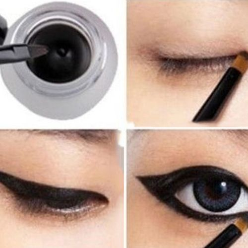 2016 New Women's Beauty Makeup Cosmetic Waterproof Eye Liner Eyeliner Gel + Black Brush 08WG