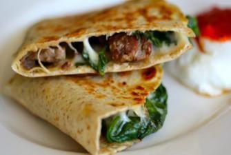 Leftover Steak and Spinach Quesadilla with Provolone Recipe   RECIPE CORNER