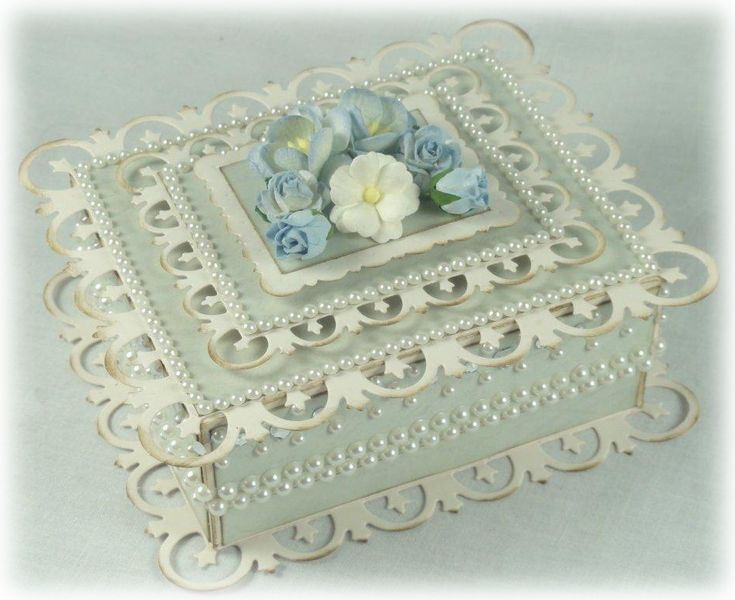 """This box uses the Spellbinders rectangular Fleur-de-Lis dies for top and bottom decoration.BOX INSTRUCTIONS:1. Cut two pieces of cardstock - the lid piece should measure 5 1/8"""" x 5 7/8..."""