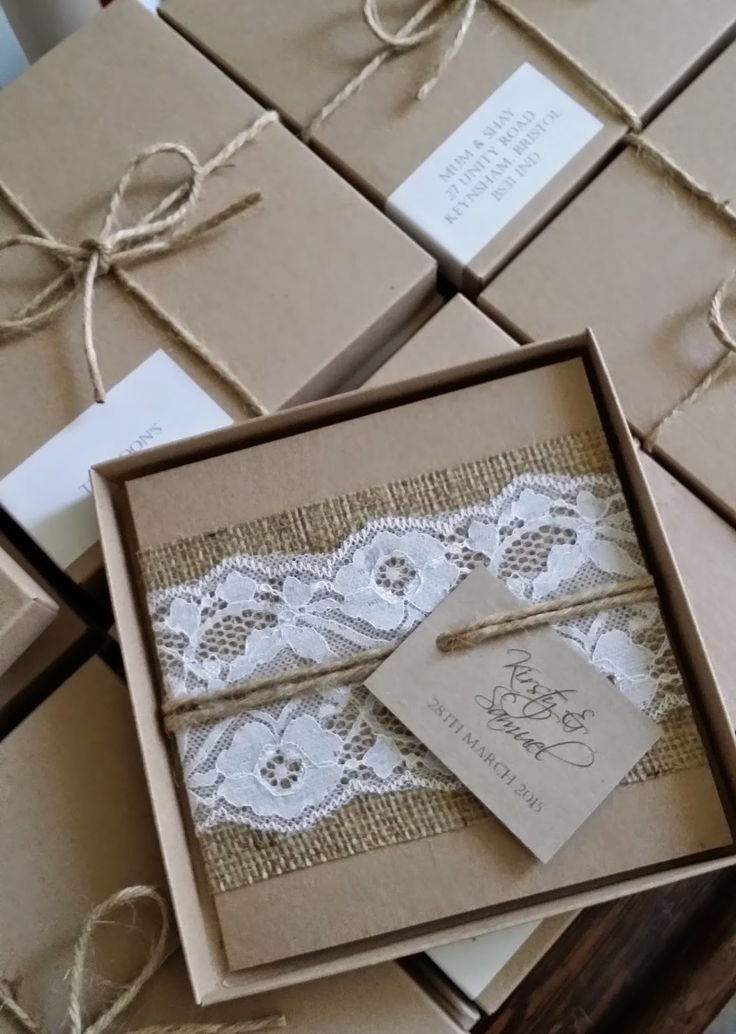 Bespoke rustic hessian and lace boxed wedding invitations from http://knotsandkisses.co.uk