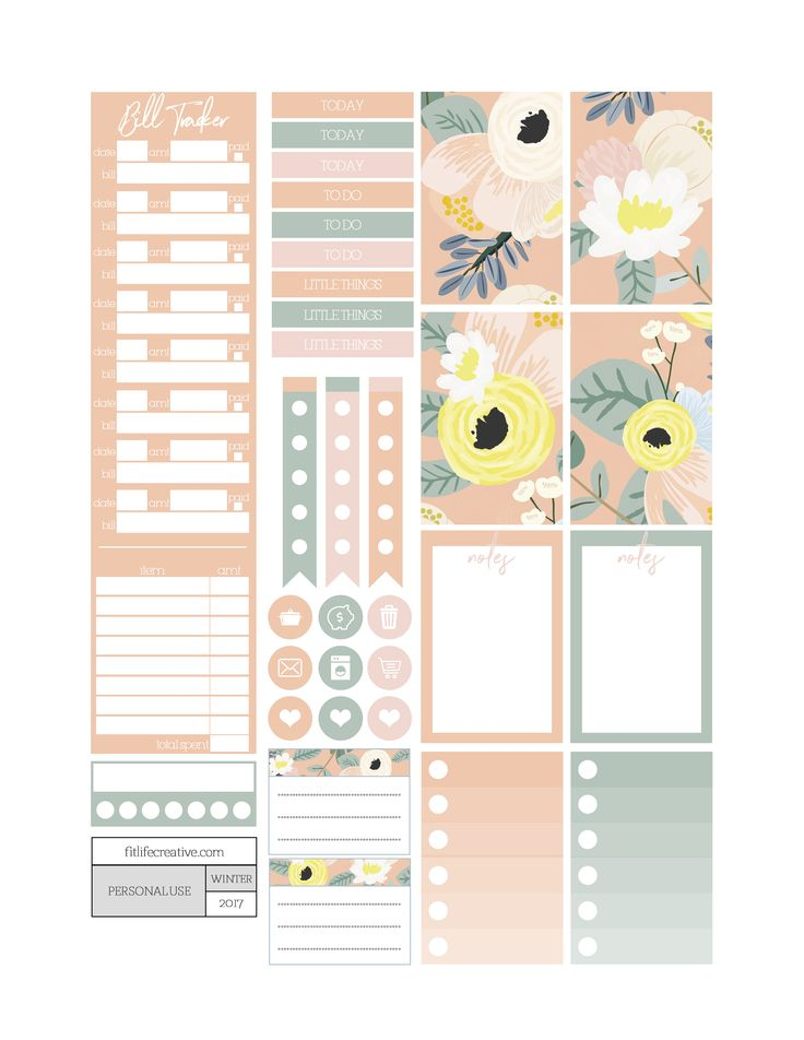 Secret Garden floral themed printable planner stickers. Includes free printable planner stickers for the classic size Happy Planner. Can also be cut down to fit the Erin Condren Life Planner or any of your favorite planners and inserts.