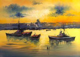 Sarı gökyüzü ve deniz tablo - ist 7762