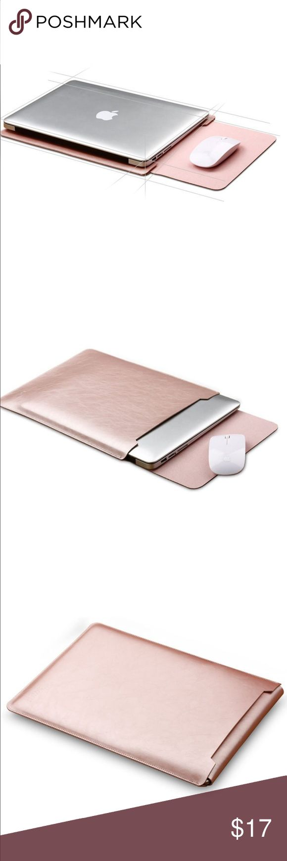 "MacBook Air Leather Sleeve Coming soon!  MacBook Air and MacBook Pro microfiber Leather Sleeve in Rose Gold (13.3"").  This slim sleeve design will protect your from scratches without the bulkiness.  Because it's a slim design it will fit in your messenger bag, back and purse.  The flip pad works as a mousepad.                       Trades Accessories Laptop Cases"