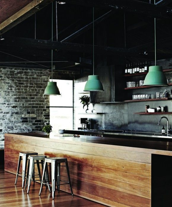 Terrific textures and materials in this kitchen. Great choice of lamps, too.