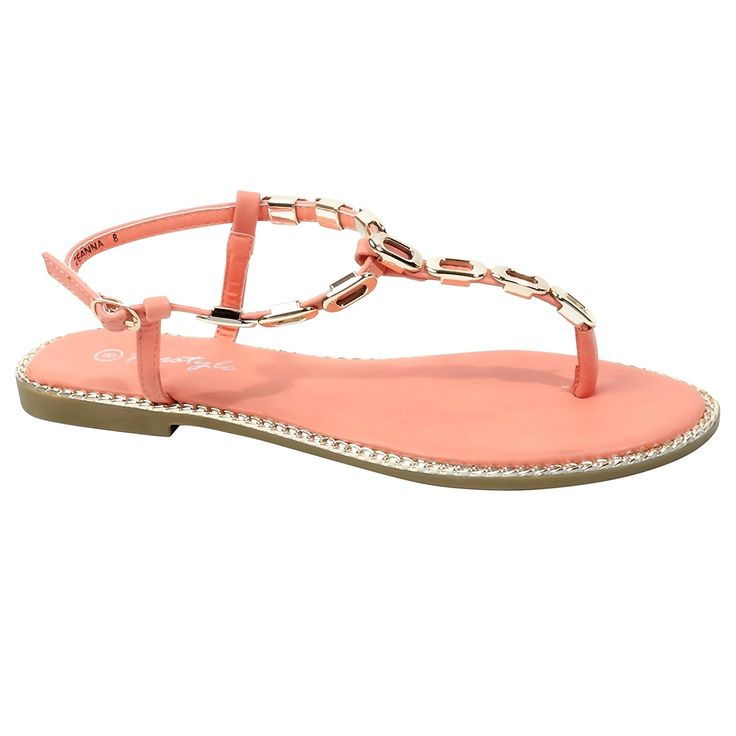 HerStyle Women's Zeanna Flat Thong with Gold-Tone Links >>> You can find out more details at the link of the image.