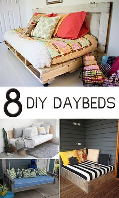 8 Gorgeous DIY Daybed Ideas For Your Home!!! All of these are so cute and look so relaxing!!!