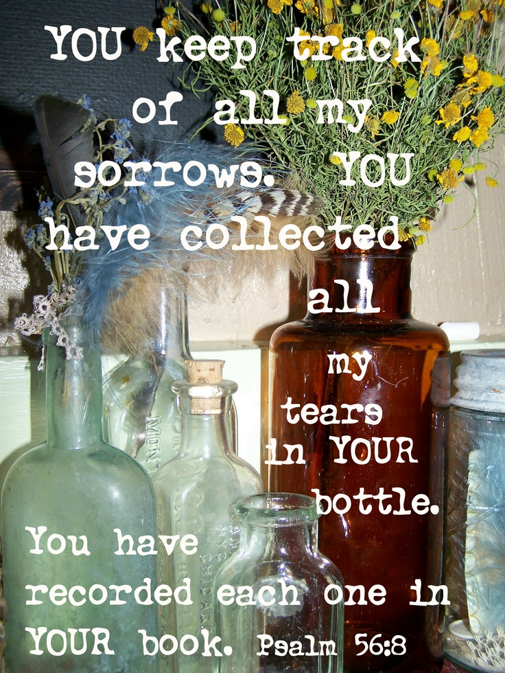 God, You have kept record of my days of heartaches. You have stored my tears in your bottle and counted each of them.     Psalm 56:8