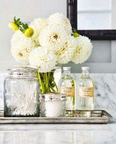 Lovely, abundant, clean, crisp and fresh details for the spa bathroom