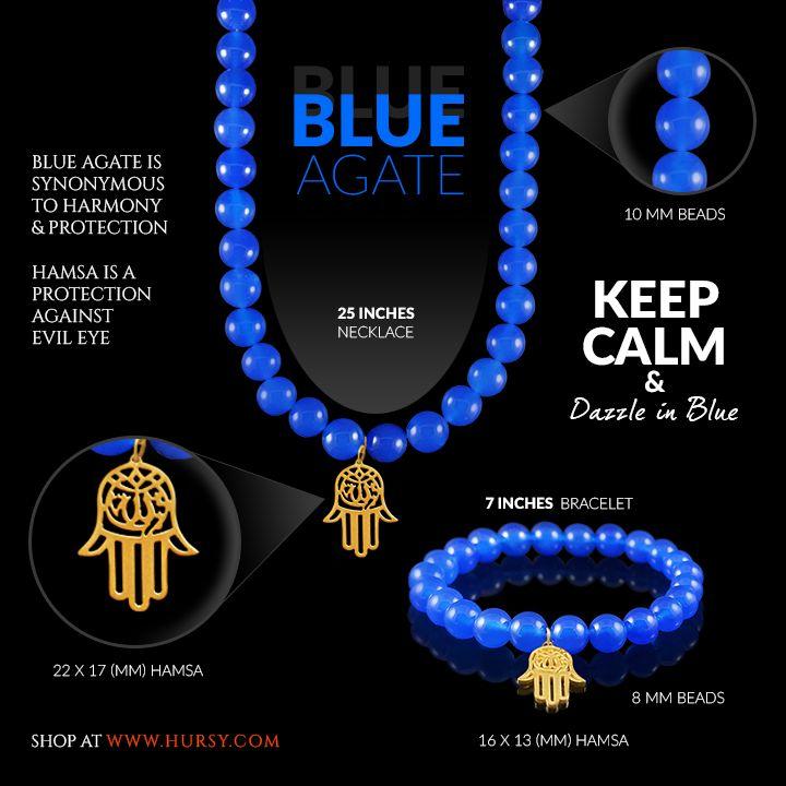 Keep Calm & Dazzle in Blue!   #blue #fashion #style #jewelry #jewellery #stylestatement #fashionista #agate #agatejewelry #hamsa #hamsajewelry #Hursy #hursyshop #gohursy